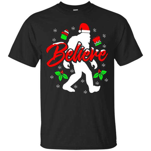 Bigfoot Christmas Shirt Believe Funny Sasquatch Yeti Gift