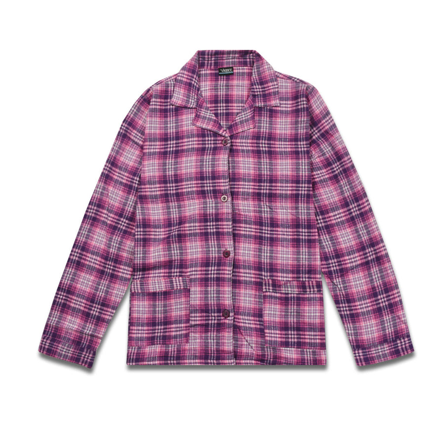 Women nightwear checked Pink Shirt