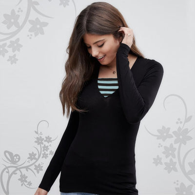 WOMEN Neck Contarct Patch Full Sleeves T-SHIRT