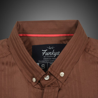 Funkys Vertical Lining  Oxford Button Down Shirt