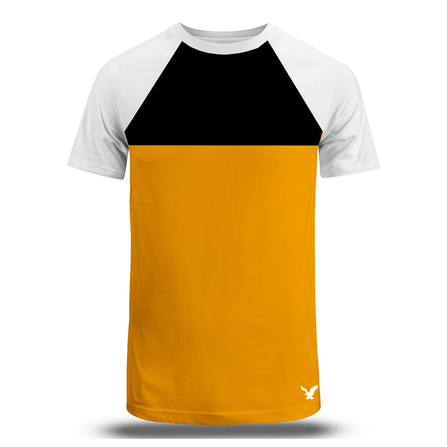 Color block Raglan sleeves Black/Yellow Tees