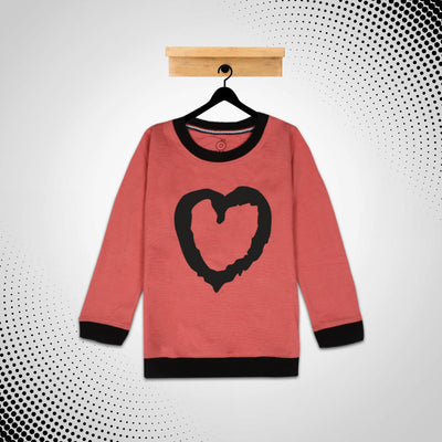 kid's Heart  Printed Carrot Red SweatShirt (1 YEARS to 12 YEARS)