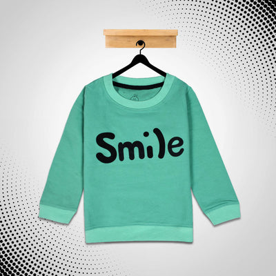 kid's Smile Printed Green SweatShirt With Minor Fault