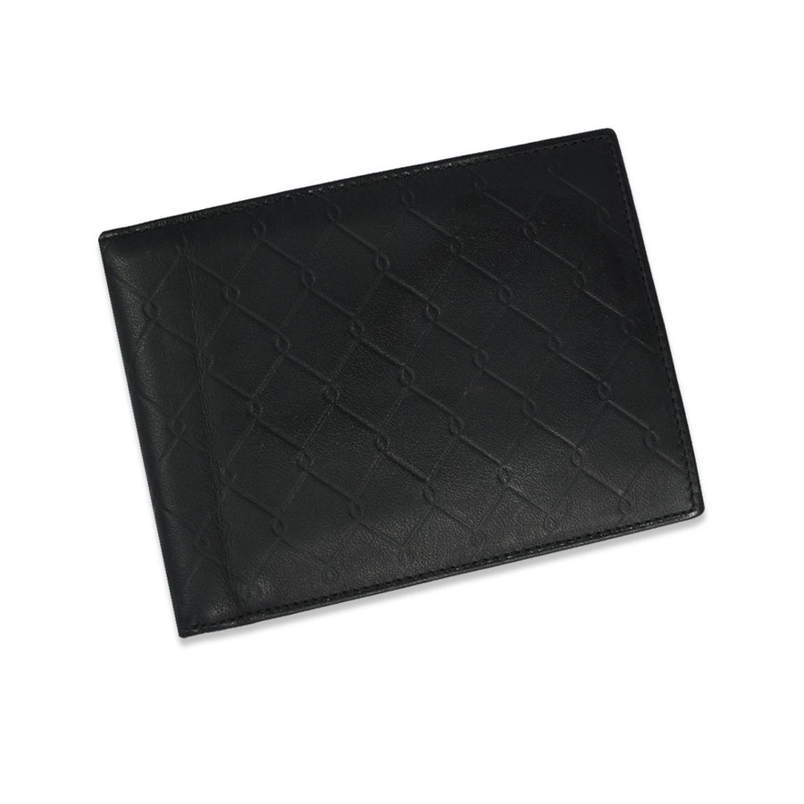 Funky's BI-FOLD BLACK LEATHER WALLET