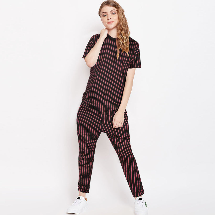 Funkys Printed Stripe Women Night Tracksuit (with minor fault)