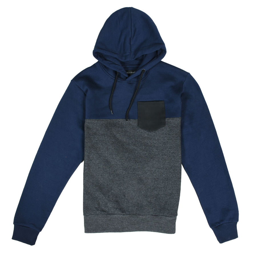 ZR Leather Pocket Color Block Navy Hoodie