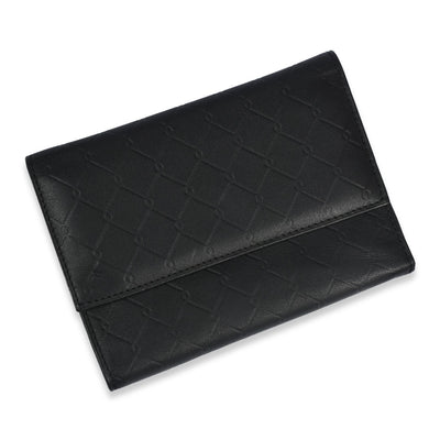 TRI FOLD CLIP BUTTON LEATHER WALLET