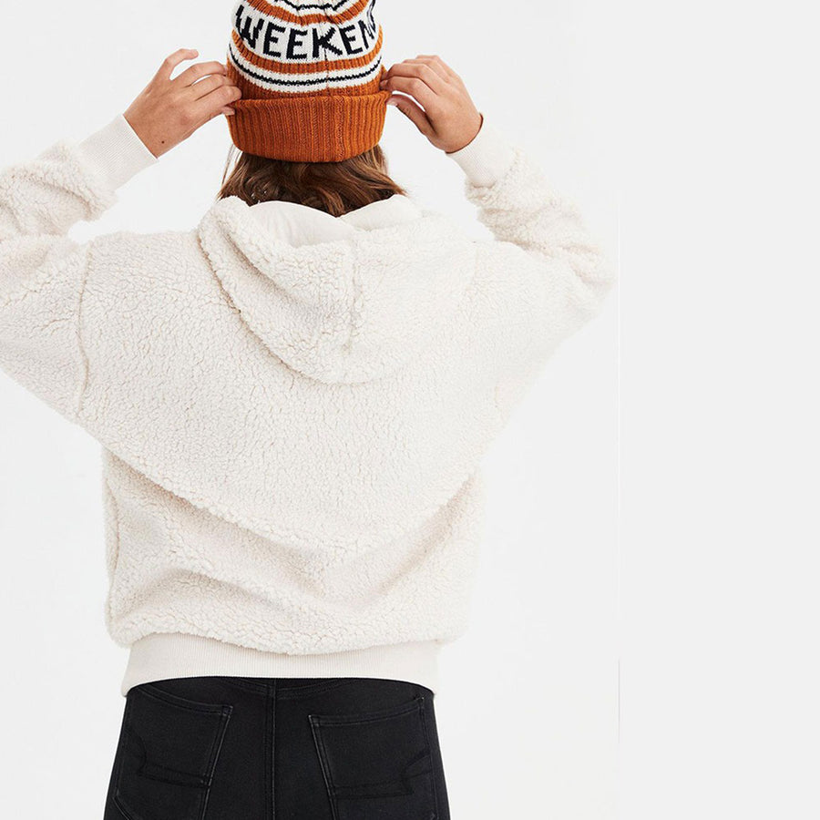 HEAVY SHERPA WINTER BLOCK White HOODIE