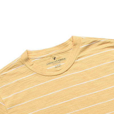 Yarn Dyed pale yellow Horizontal Striped Tee