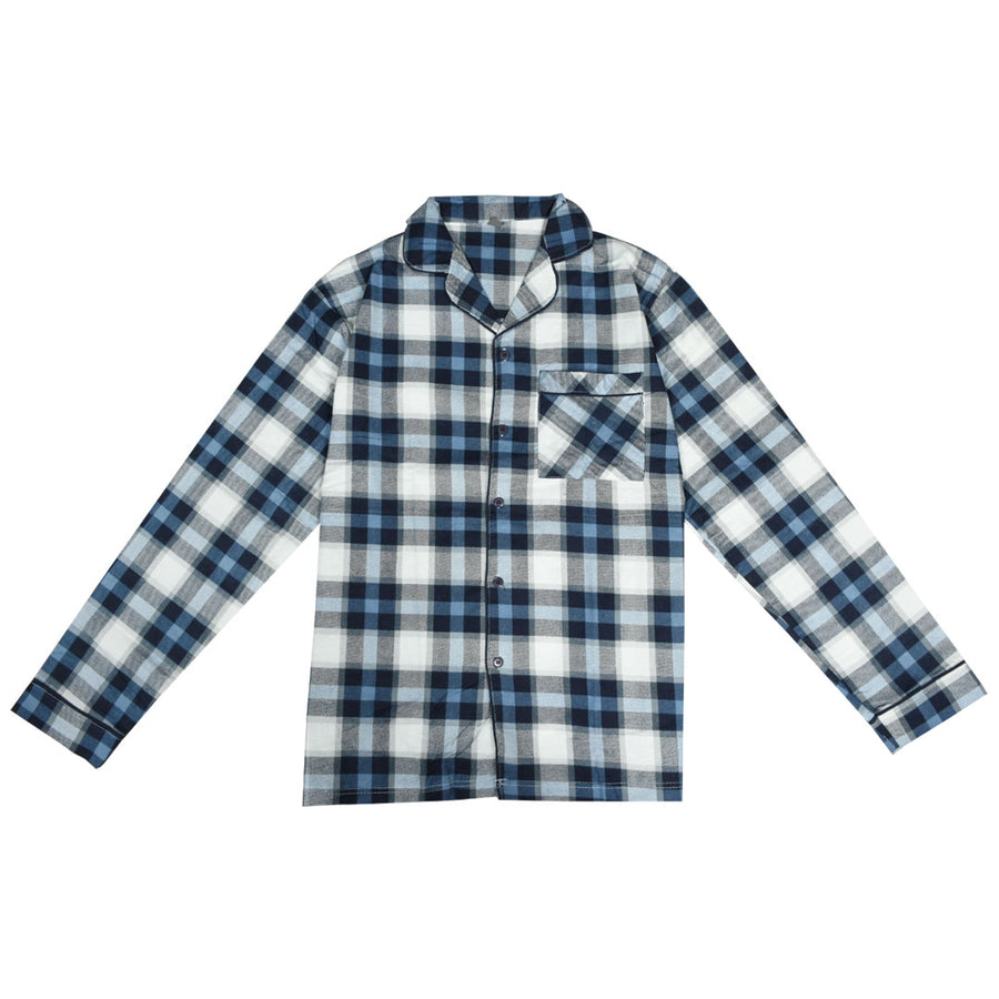 Men Oxford Check Night Wear Blue Suit