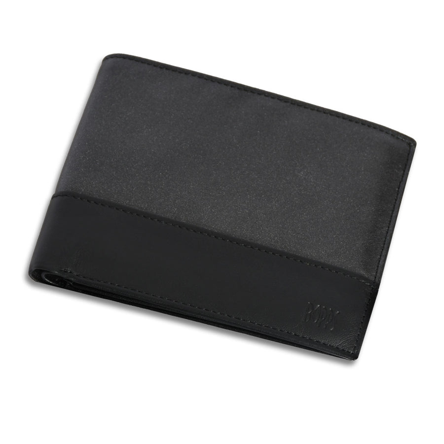 Funky's CONTRAST CHARCOAL BI-FOLD LEATHER WALLET