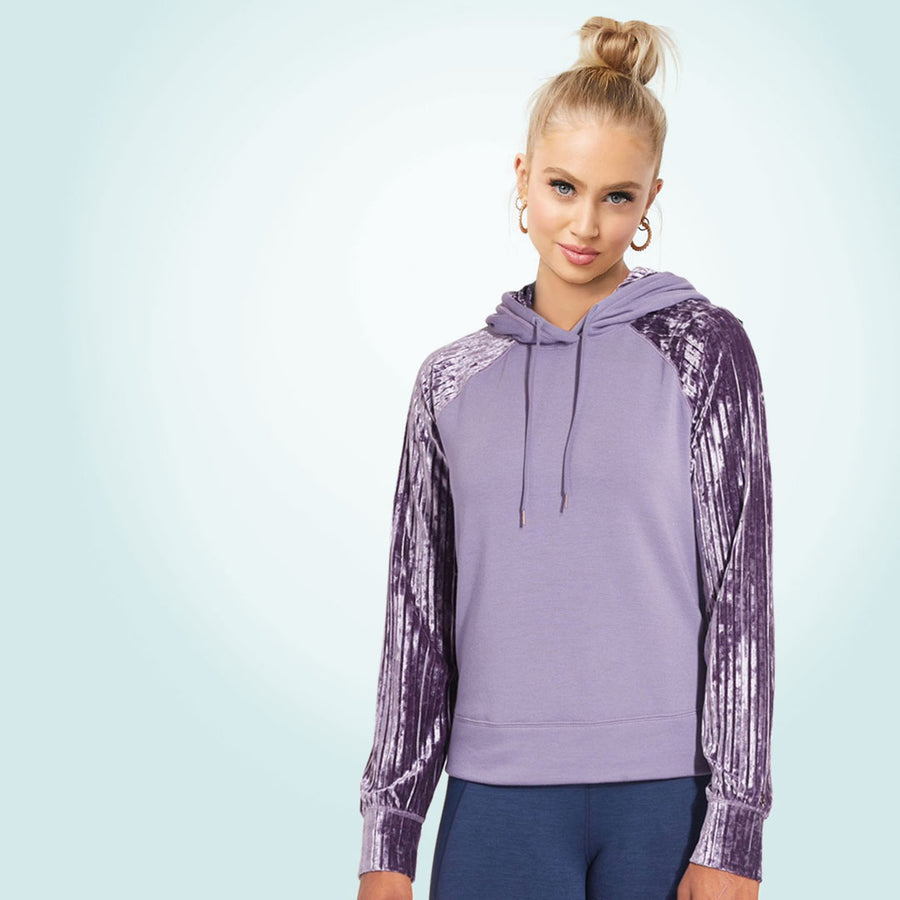 Women Velvet Sleeves Mauve Purple Track Jacket