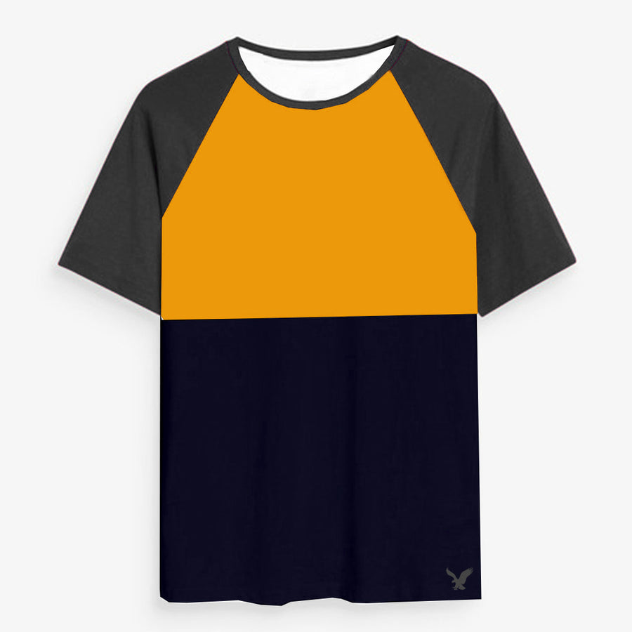 Color block Raglan sleeves Yellow/Navy Tees