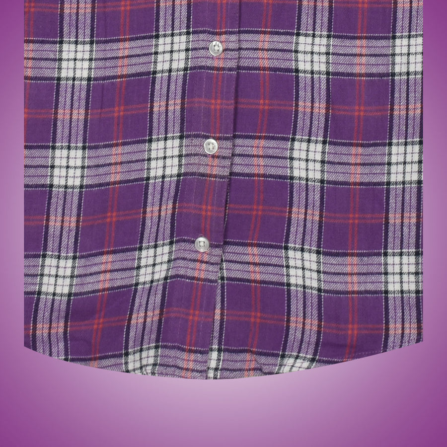 Women Flannel Purple Checkered Daily Wear Shirt