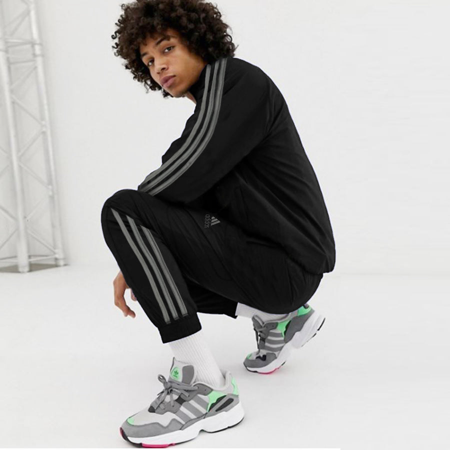 ADS Jet Black Grey Side Striped High Neck Track Suit