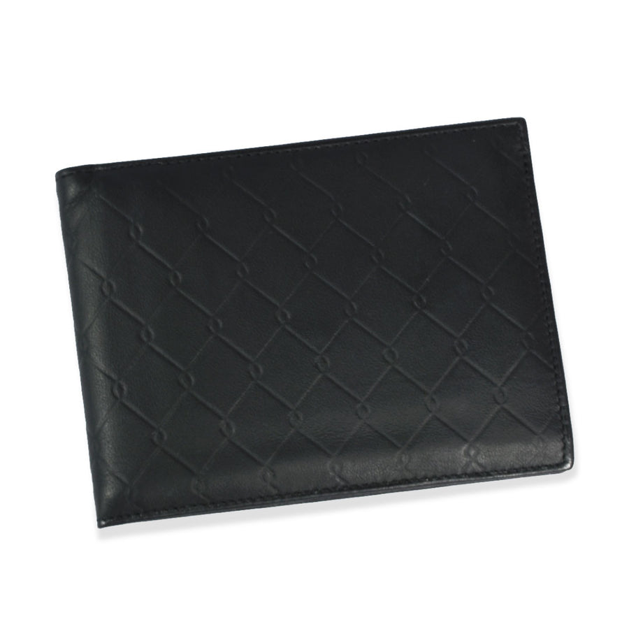 BI-FOLD CARD HOLDER BLACK LEATHER WALLET