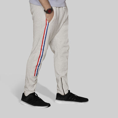 P&B Side Striped Off White Zipper Bottom Trouser