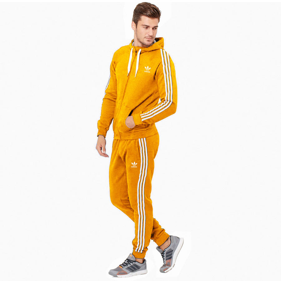 Yellow  3 Stripes Heavy Fleece Track Suit