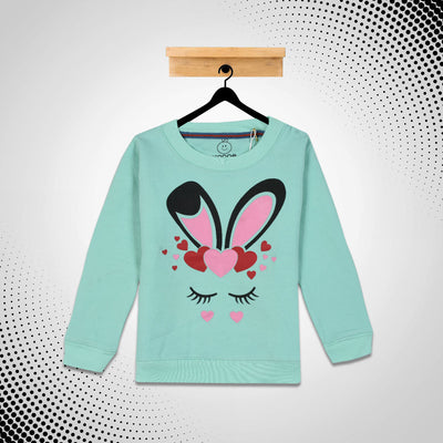 Kid's heart and eye lashes printed Sweat Shirt With Minor Fault
