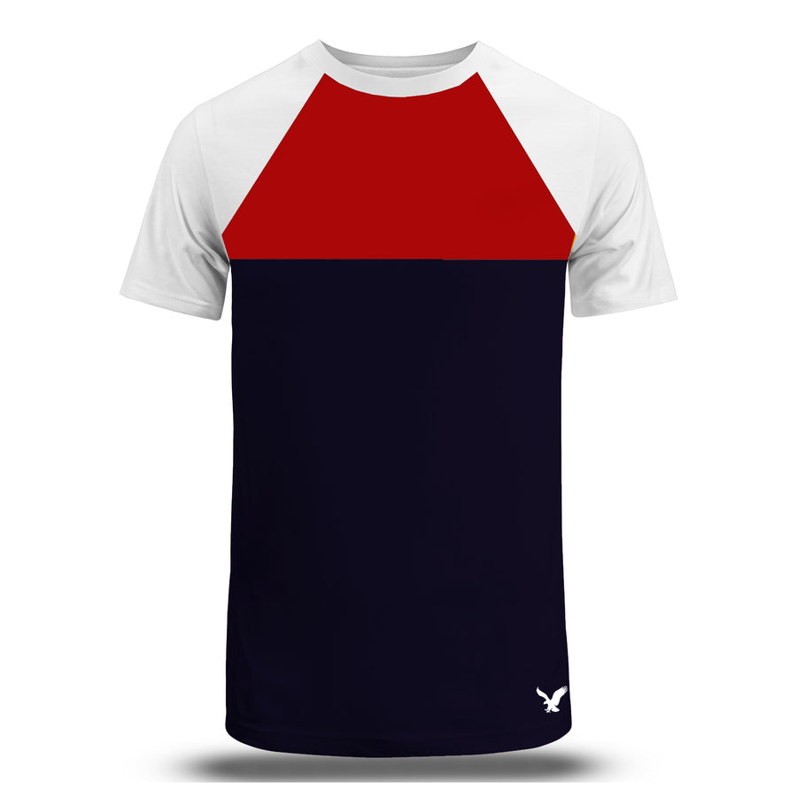Color block Raglan sleeves Red/Navy Tees