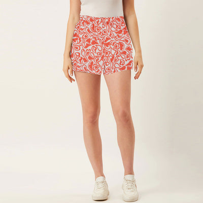 Gender Neutral Night Wear/ Under Wear Red Printed Jersey Boxer