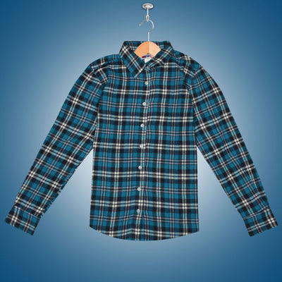 Women Flannel Sky Blue Checkered Daily Wear Shirt