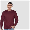Crew Neck Long Sleeves Maroon T-Shirt
