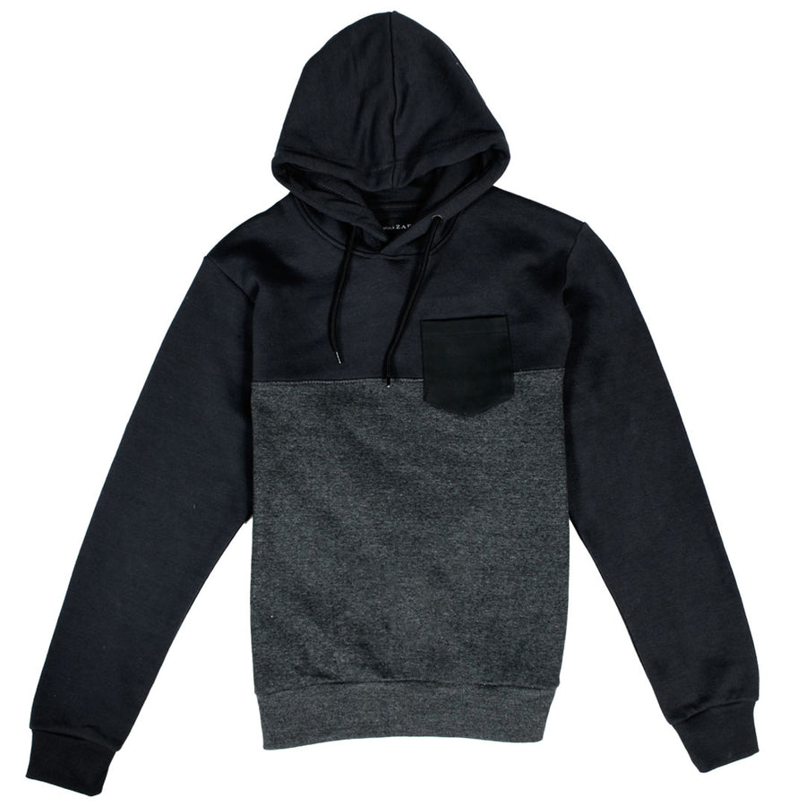 ZR Leather Pocket Color Block Charcoal Hoodie