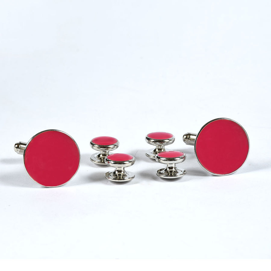 Pink Stone Stylish Silver Coated Cuff links