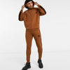 Dark Brown 3  Stripes Heavy Fleece Track Suit