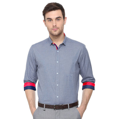 Chambray Cotton Semi Formal / Casual Men's Shirt