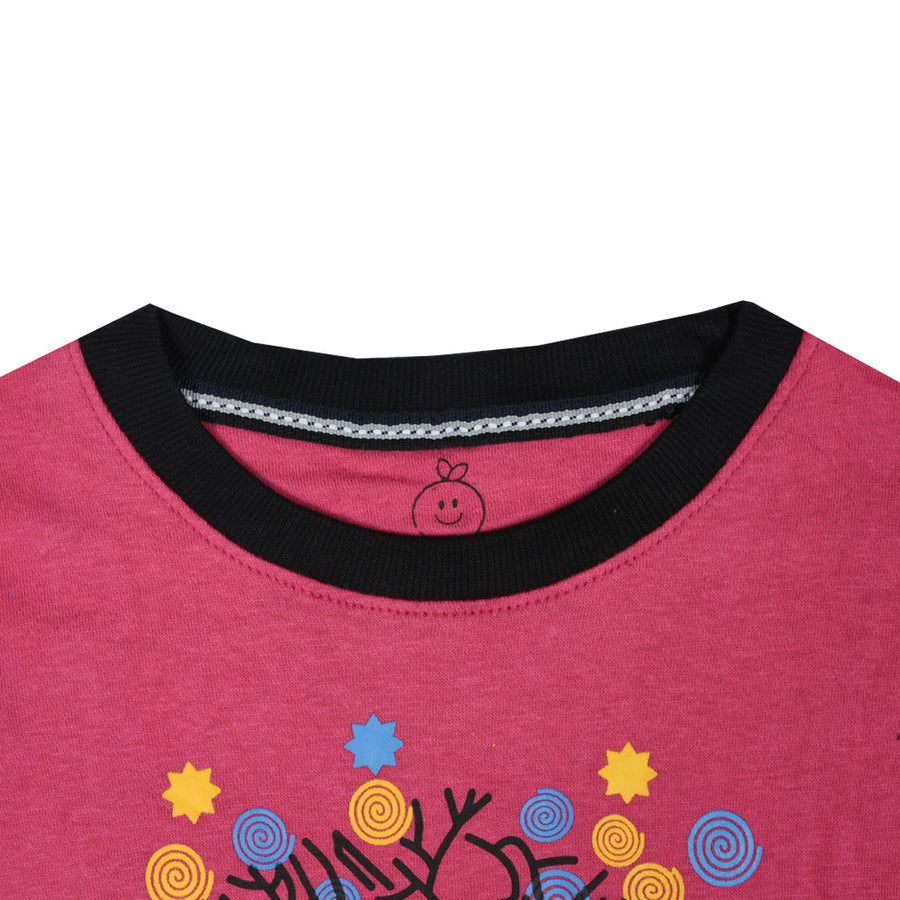 kid's Kitty Tree Printed Pink SweatShirt (1 YEARS to 12 YEARS)