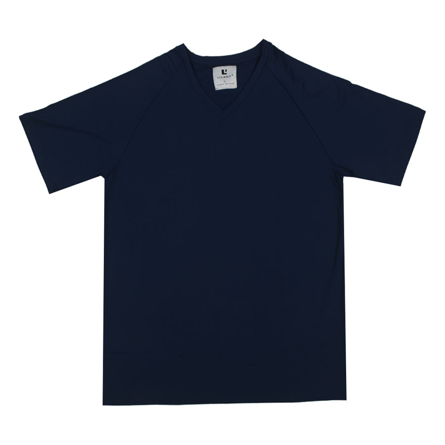 Funkys v neck Poly Flex Navy Tee Shirt