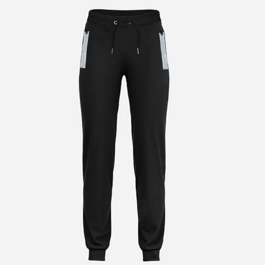 Black Reflector Zip Side Pockets Jogger Trousers