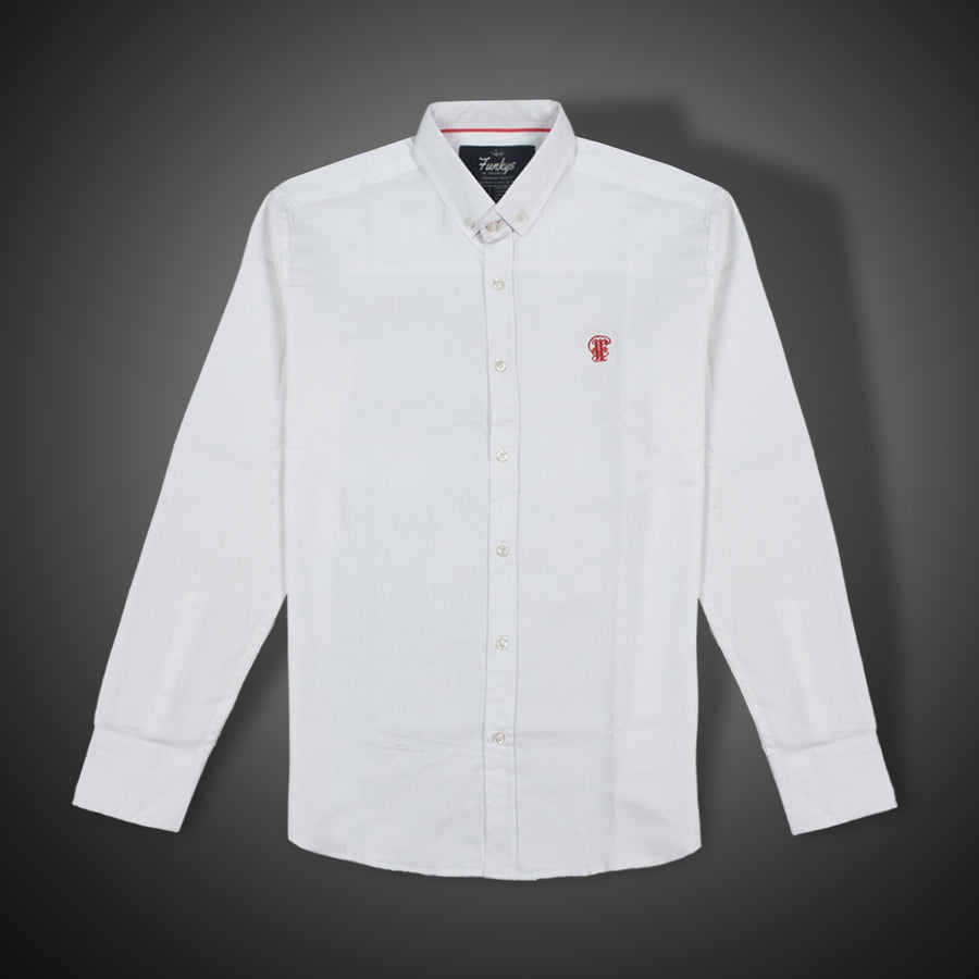 Funkys white Oxford button down shirt