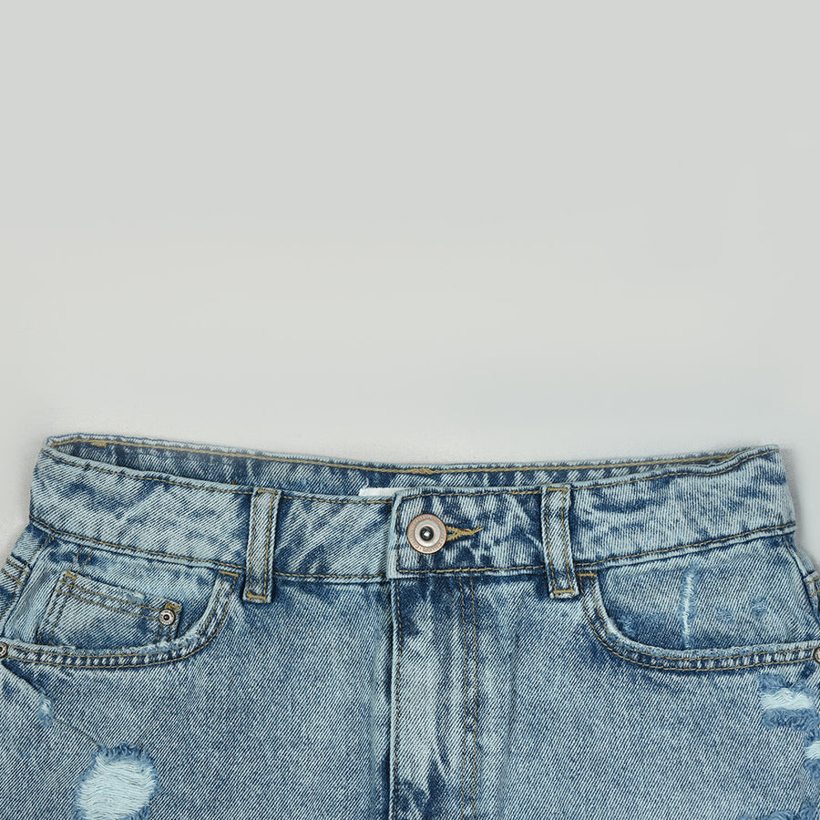 MId Length Ripped Denim Skirt