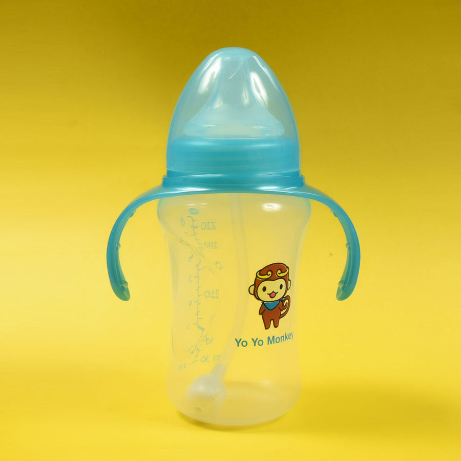 WIDE NECK SKY BLUE FEEDING BOTTTLE With Handle and straw (210ml / 8oz)