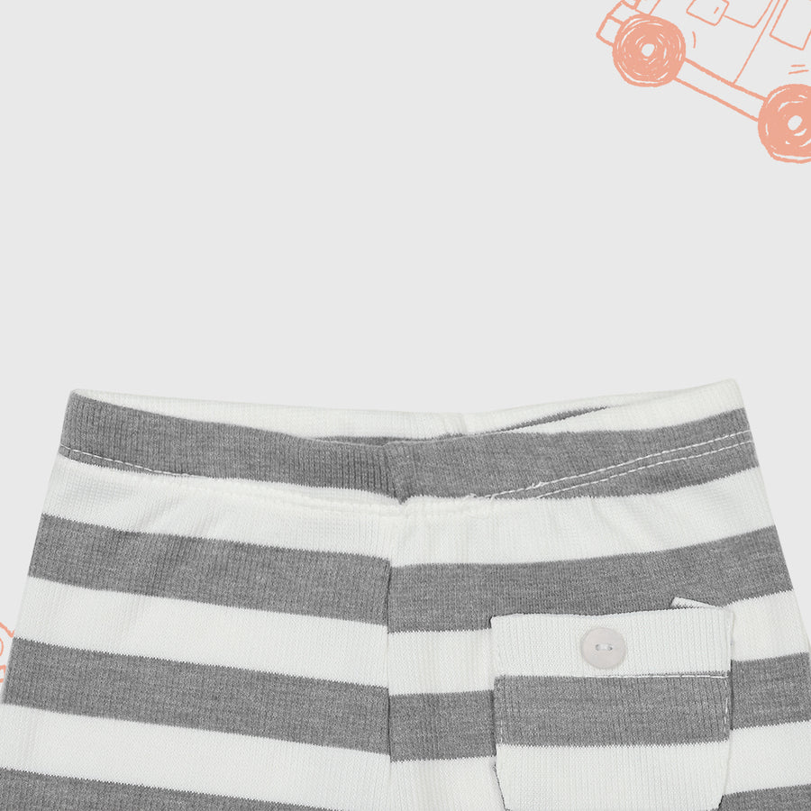 Baby Horizontal Stripe Front Pocket Comfy Grey Trouser