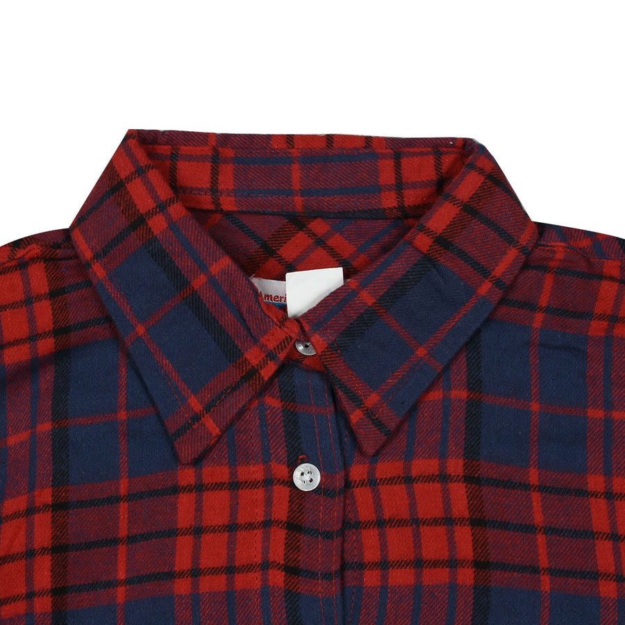 Women Flannel Red Checkered Daily Wear Shirt