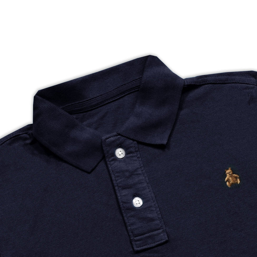 BOYS TEDDY BEAR Embroidered LOGO NAVY POLO SHIRT WITH MINOR FAULT ( 1 YEARS TO 5 YEARS)