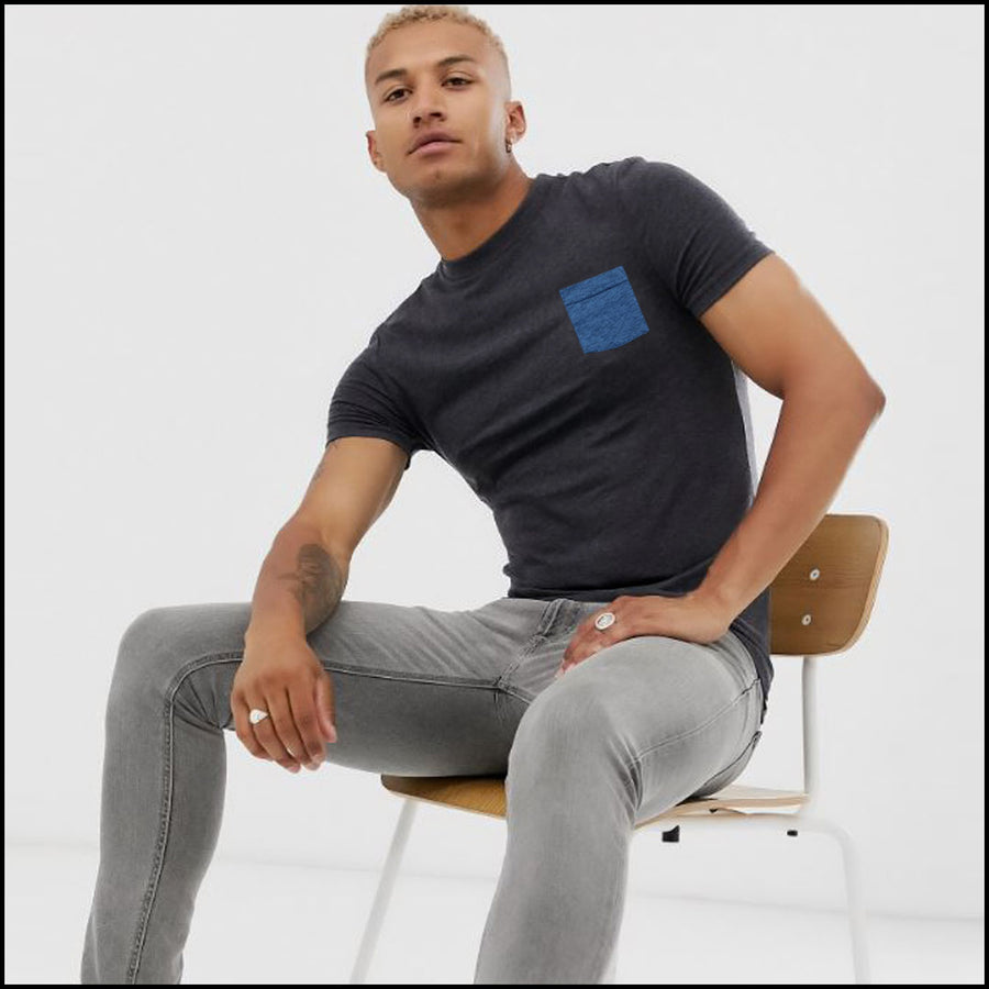 CREW NECK CONTRAST CHEST POCKET T SHIRT