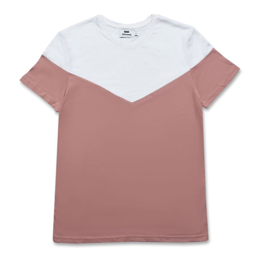 PINK T-SHIRT WITH CONTRAST CHEST PANEL