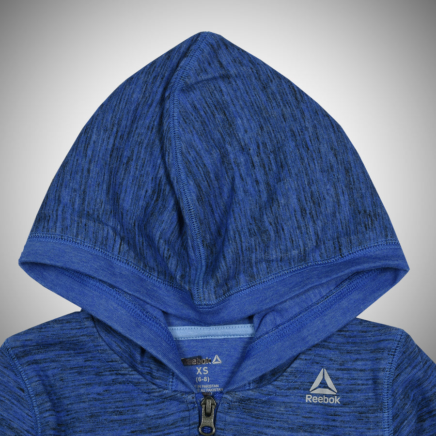 MELANGE  Blue INTERLOCK FRONT ZIP UP HOODIE(6 YEARS TO 16 YEARS)