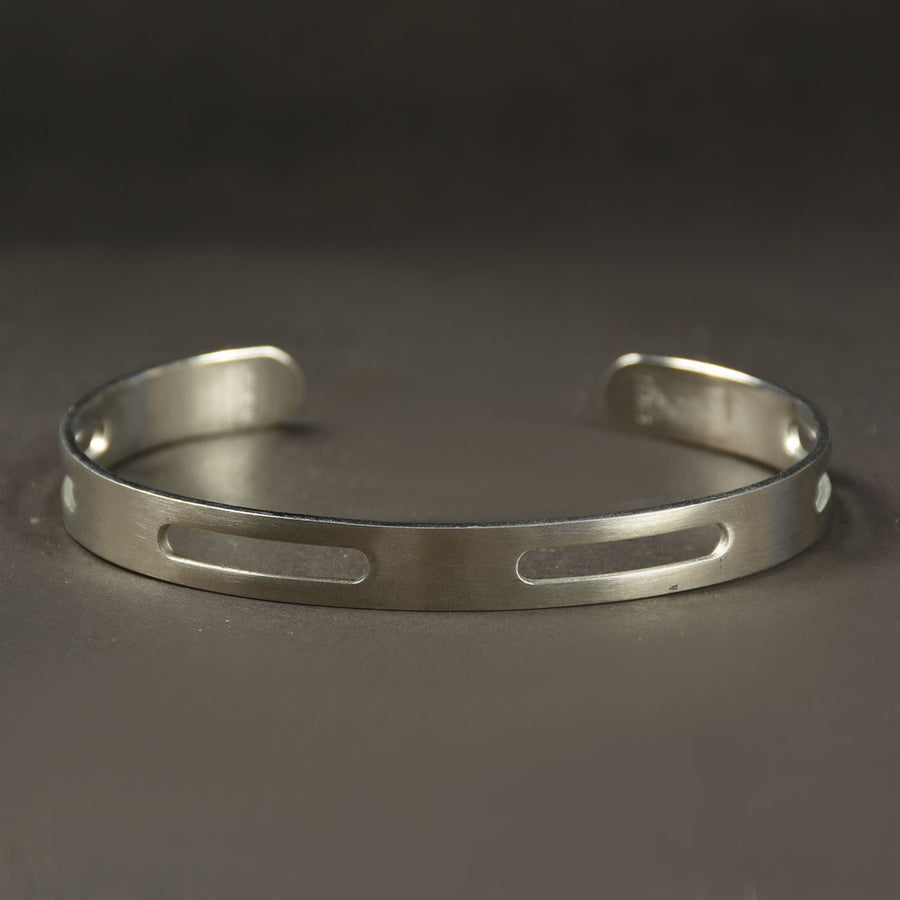 Men Stainless steel Screw design cuff bangle