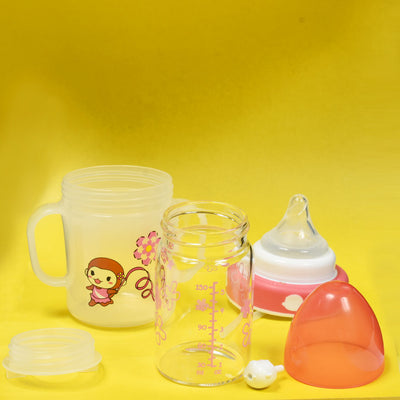 Wide Neck Shatter Resistant Glass Feeding Bottle with Handle & Straw (150ml / 5oz)