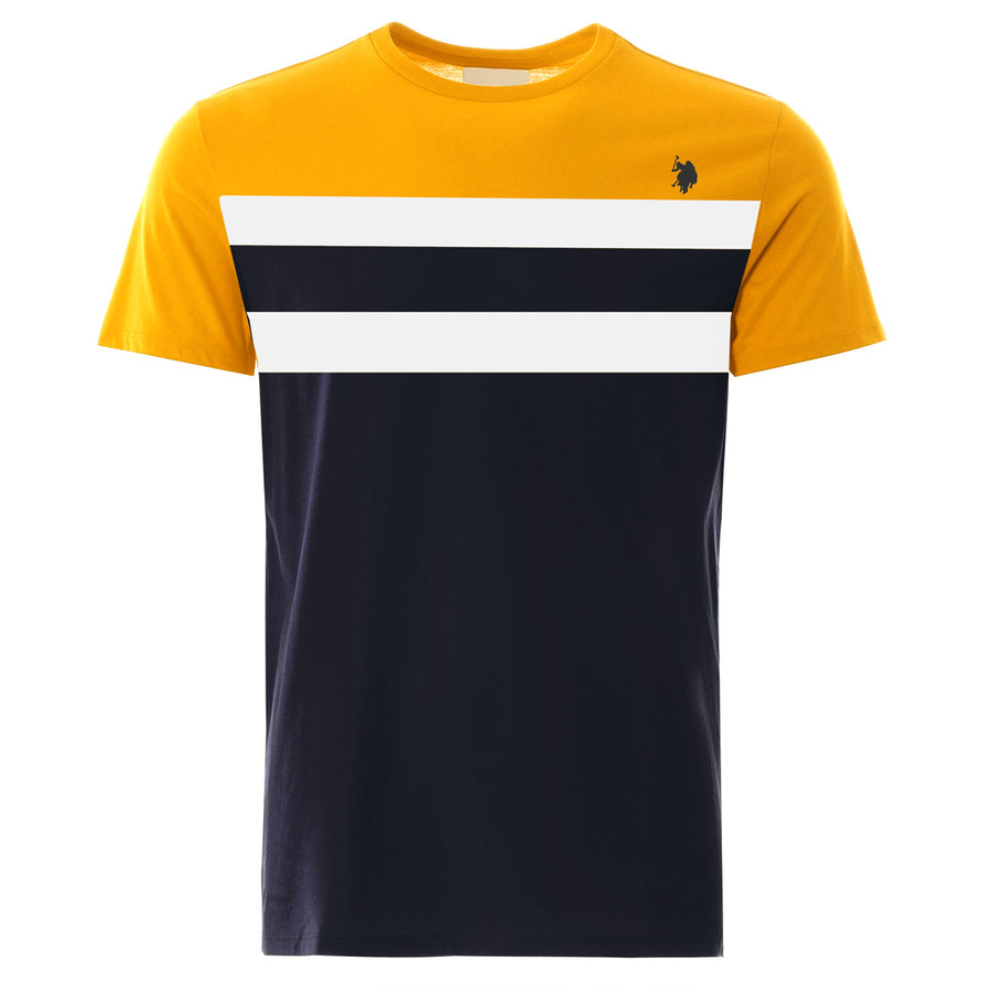 Aesthetics Color Block Panel Yellow & Navy Tee