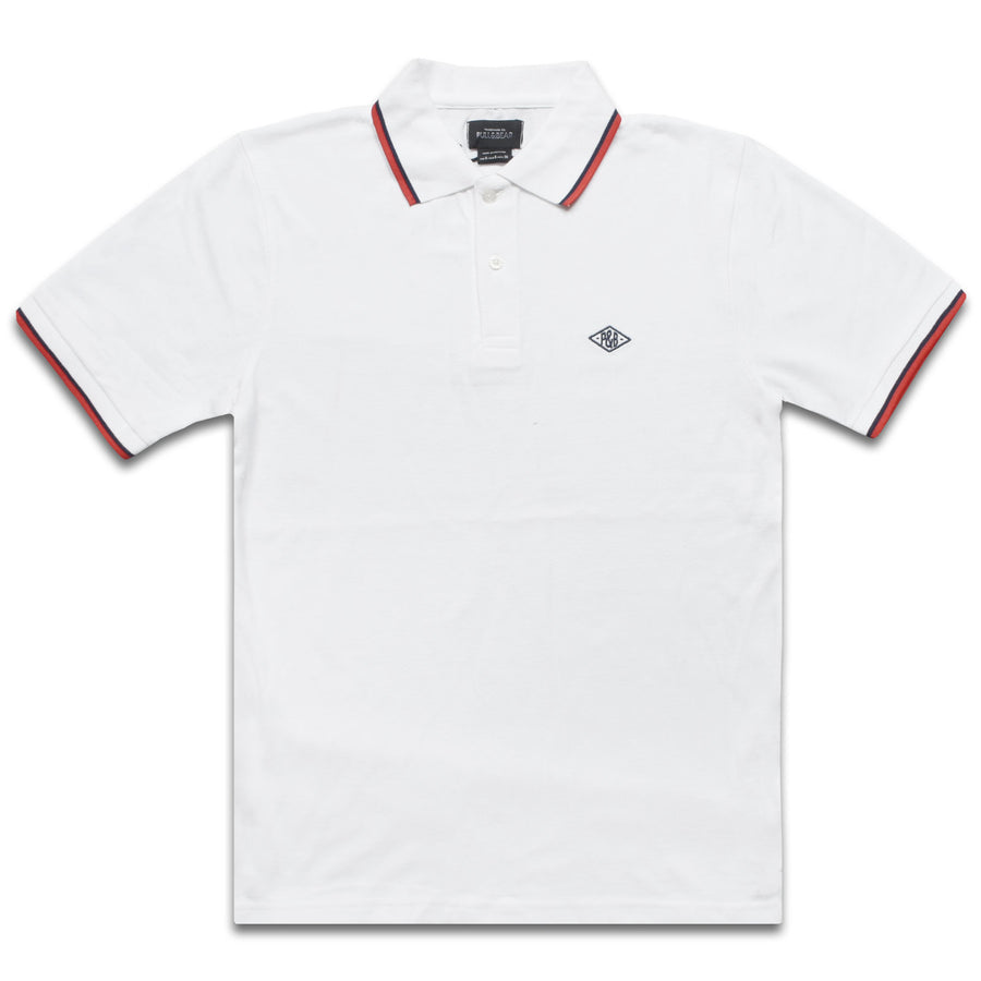 Tipped Collar White Pique Polo Shirt