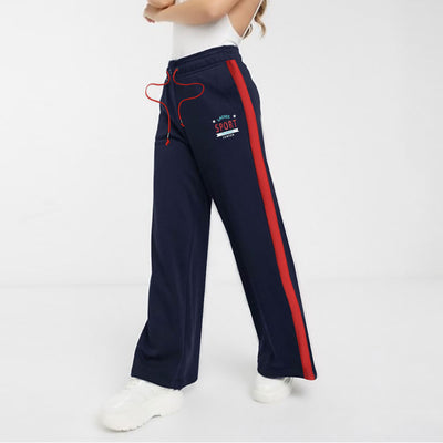 WOMEN SPORT SIDE STRIPED BELL BOTTOM TROUSER