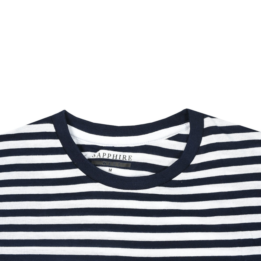 Women Breton Stripes Left Chest Pocket T-Shirt
