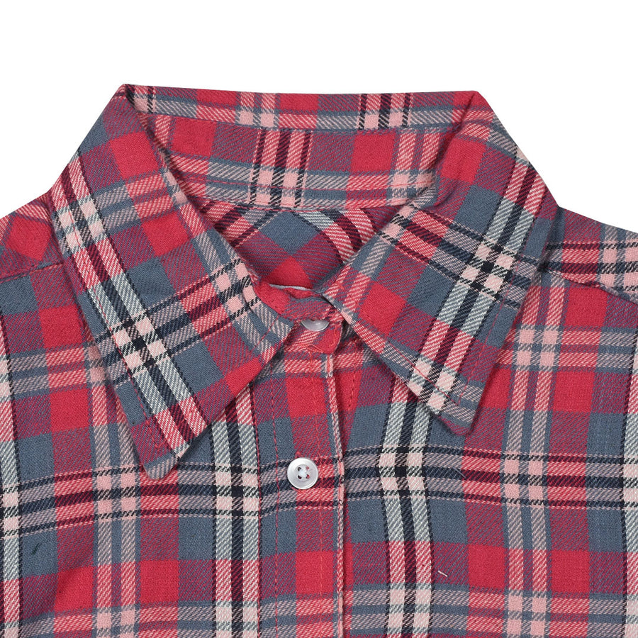Women Flannel Mini Box Checkered Daily Wear Shirt